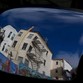 Reflection in a Window by Janet Marsh - Buildings & Architecture Homes ( reflection, sf mural, car mirror,  )