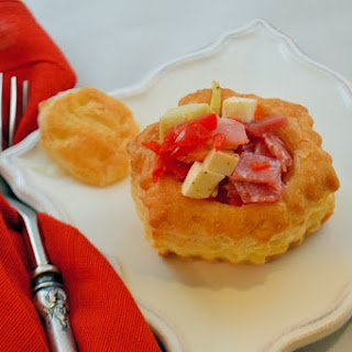 Chopped Antipasta Salad in Puff Pastry Cups