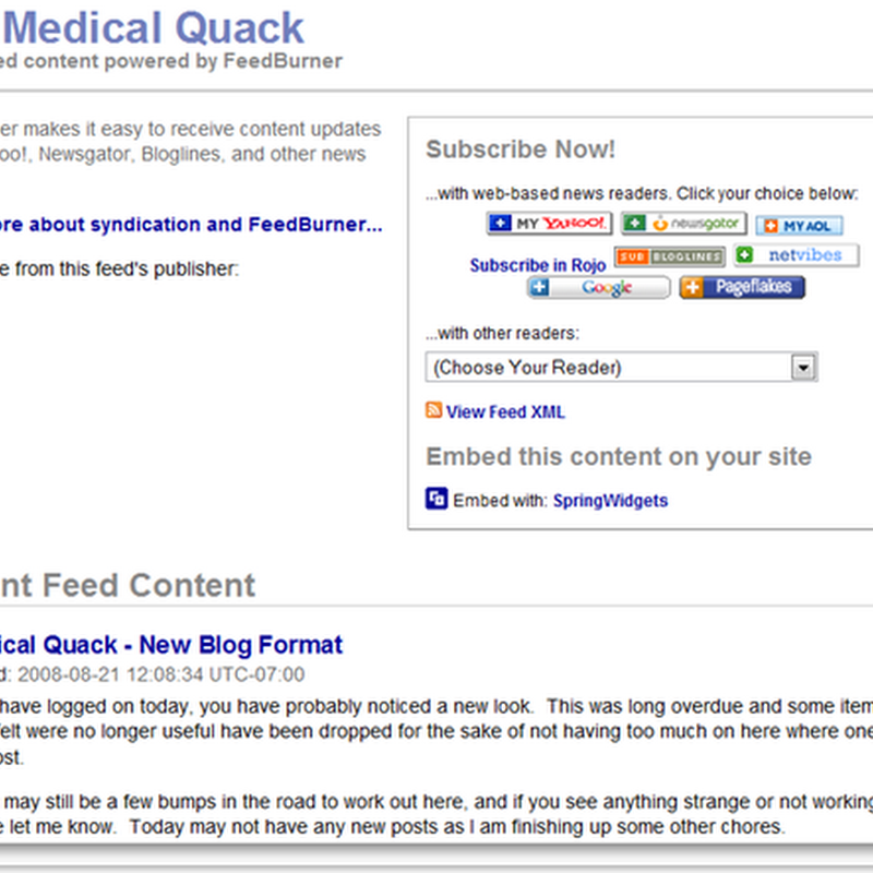 Medical Quack - Feedburner for RSS Updates...