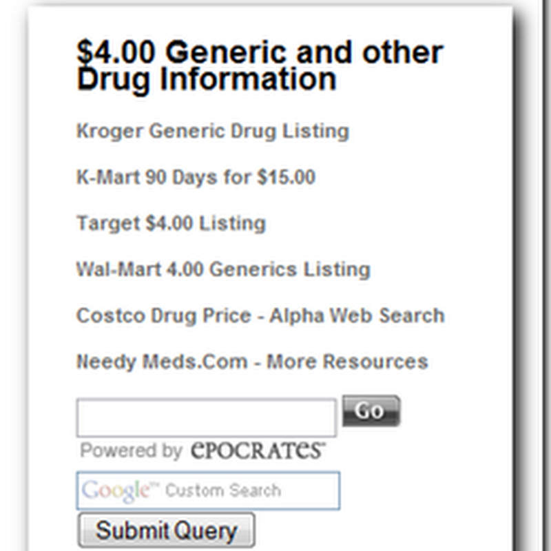 $4.00 Generic Drugs and other medication information