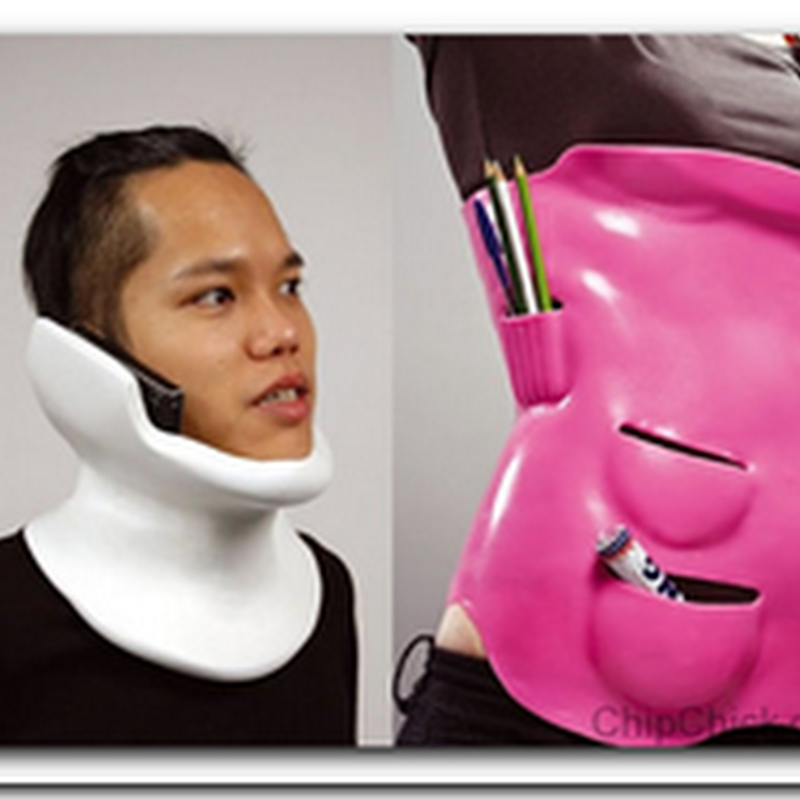 Cool neck brace let's you answer your phone even when you're sprained
