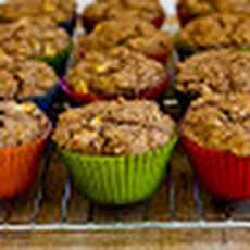 Made-from-Scratch Low-Sugar and Whole Wheat Bran Muffins with Apple and Walnuts