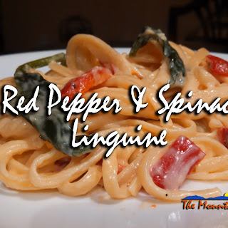 Red Pepper & Spinach Linguine With Parmesan Cream Sauce