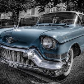 Strömstad, Sweden by IP Maesstro - Transportation Automobiles ( car, parking, sweden, strömstad, transport, automobile, oldtimer, selective color, pwc )