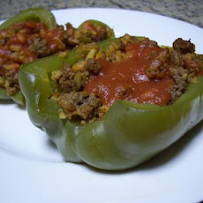 Ground Beef Stuffed Green Bell Peppers