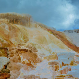 Mammoth Hot Springs by Erin Czech - Landscapes Caves & Formations ( yellowstone national park, mammoth, hot springs, minerals, steam )