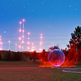 A little too hot by Jamie Rabold - Abstract Light Painting ( canon, night shots, minnesota, light painting, led, towers, enger golf course, el wire, duluth mn )