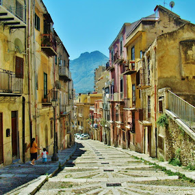 DOWN THE STREET by Wojtylak Maria - City,  Street & Park  Street Scenes ( stairs, street, town, view, sicily )