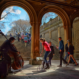 Another Afternoon in Central Park by Ferdinand Ludo - People Street & Candids ( tourist, cellist, sunny day, central park, under the bridge )