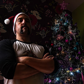 Christmas Spirit by Michael Ripley - People Portraits of Men ( selfie, tree, christmas, spirit, moustache, portrait )