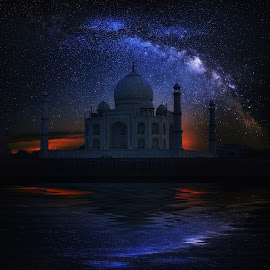 Taj Mahal Temple night, Agra, with Milky Way by Naďa Murmakova - Digital Art Things ( taj, marble, mausoleum, travel, architecture, heritage, milky way, religion, hindu, sky, wonder, white, tourism, unesco, destination, temple, holiday, uttar, landmark, tourist, shrine, vacation, islam, mahal, taj mahal, symmetry, palace, culture, famous, tomb, dome, beauty, landscape, pradesh, asia, india, monument, evening, mughal, building, minaret, beautiful, indian, tower, blue, jahan, agra, night, world, river,  )