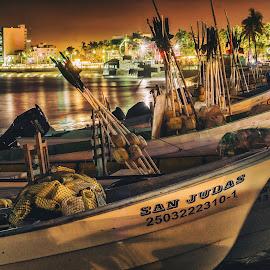 Pangas by John Matzick - City,  Street & Park  Neighborhoods ( water, mazatlan, vintage, mexico, boats, tropical, sea, still, ocean, beach, rustic, placid, tranquil, night )