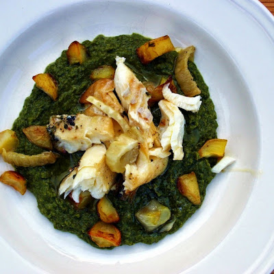 Baked Haddock With Wild Garlic And Pea Puree