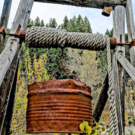 The Old Well by Barbara Brock - Artistic Objects Other Objects ( woven rope, well rope, well bucket, water collection, rusty bucket )