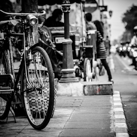 The Old Bicycle at Malioboro by Krisdian Isnu Wardana - Transportation Bicycles ( old, bike, traditional, bicycle )
