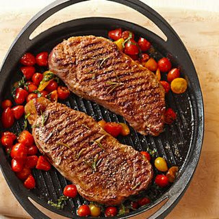 Grilled Steaks with Cherry Tomatoes and Basil