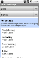 Screenshot of Ferien & Feiertage