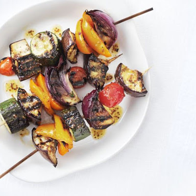 Griddled Glazed Vegetable Kebabs