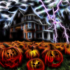 Halloween 2night by Leslie Collins - Digital Art Places ( lightning, pumpkin patch, night, house, halloween,  )