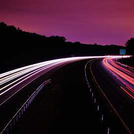 by Lisa Montcalm - City,  Street & Park  Street Scenes ( lights, traffic, time lapse, violet, streets )