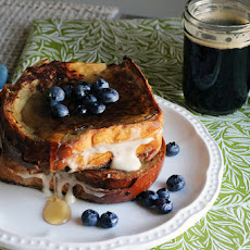 Breakfast Stout French Toast stuffed with Bourbon Cream Cheese Frosting