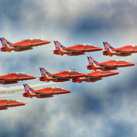 B Arrows 1 by Kelly Murdoch - Transportation Airplanes ( clouds, red arrows, uk, bouremouth, airplanes, jets, ztam, flying, flight, england, arrows, red, reds, sky, ryal air force, air display, royal air force, raf, planes )