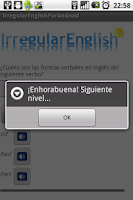 Screenshot of Verbos irregulares inglés