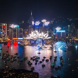Hongkong New Year by Nikon Guy - City,  Street & Park  Skylines ( hong kong, skyline, harbor, night photography, new year, fireworks,  )