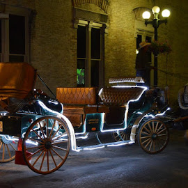 Horse & Carriage by Jerry Sifuentes - Transportation Other ( night photography, carriage, alamo plaza, san antonio )