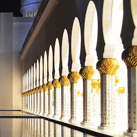 Reflection. by Mohammed Shamil Bin Shafi - Buildings & Architecture Other Exteriors ( reflection, mosque, abudhabi, white, yellow, pillars )