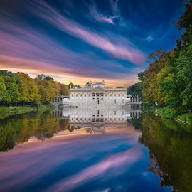 Royal Lazienki Park by Marcin Frąckiewicz - City,  Street & Park  City Parks ( mirrored reflections, water, park, autumn, sunset, trees, lake, forest,  )
