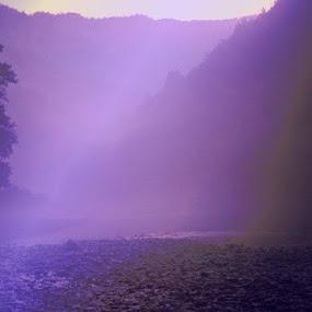 Purple Fog in Hills by Nat Bolfan-Stosic - Landscapes Mountains & Hills ( fantasy, hills, purple, fog, river )