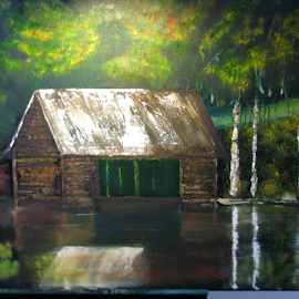 Boat house by Priscilla Renda McDaniel - Painting All Painting ( water, reflection, fall, lake, boat house, painting, oil,  )