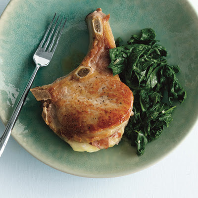 Pork Chops Saltimbocca with Sautéed Spinach