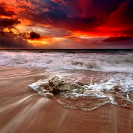 alone by Raung Binaia - Landscapes Waterscapes ( clouds, bali, stream, sky, nature, indonesia, sunset, wave, beach, seascape )