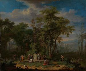 RIJKS: Jan van Huysum: Arcadian Landscape with a Ceremonial Sacrifice 1749