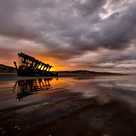 by Dana Walker - Landscapes Sunsets & Sunrises ( oregon, shipwreck, pacific ocean, sunrise, coastline )