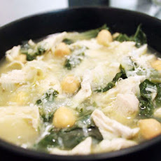 Shredded Chicken, Chard and Chickpea Soup