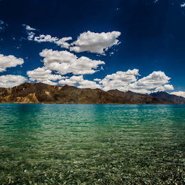 Watery by Sam's 1 Shot - Landscapes Waterscapes ( lake  blue green sun cloud refraction )