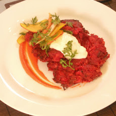 Beet and Red Onion Potato Latkes with Carrot Puree and Horseradish and Caraway Creme Fraiche