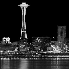 City at Night by Candee Watson - City,  Street & Park  Skylines ( lights, water, black and white, seattle, buildings, reflections )