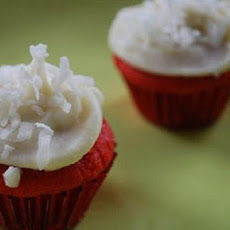 Red Velvet Cupcakes with Coconut and Cream Cheese Frosting