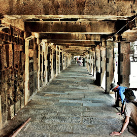 Leading to infinity? by Anoop Namboothiri - Buildings & Architecture Public & Historical ( place pf worship, varandah, old, belur, stone work, stone, architecture, karnataka, temple, tourists, anoop namboothiri, india, antique, stone beams, pillars,  )