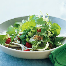 Arugula, Frisee, and Red-Leaf Salad with Strawberries