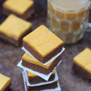 4 Ingredient Brownies with Pumpkin Spice Frosting