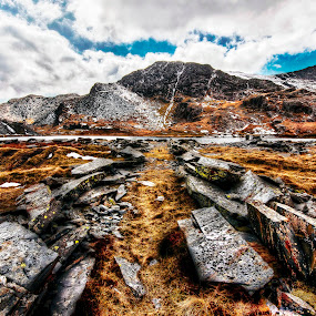 Pathway to Aqua by Mike Shields - Landscapes Mountains & Hills ( sky, mountain, grass, snow, slate, lake, cwmorthin, rocks )