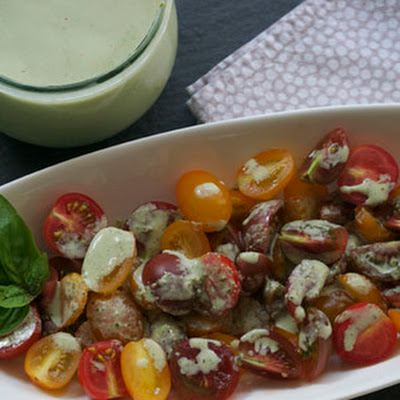 Supper's Baby Tomato Salad with Buttermilk Basil Dressing [Philly Homegrown]