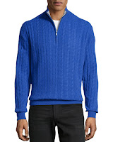 Neiman Marcus Cashmere Cable-Knit Sweater, Royal - (MEDIUM)