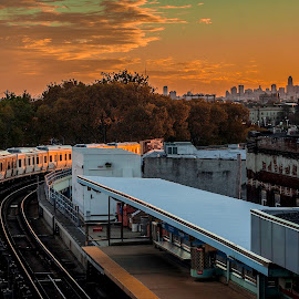 View of SEPTA when it isn't disgusting by Spencer Skelly - City,  Street & Park  Vistas ( septa, skyline, el, train, tracks, philadelphia )