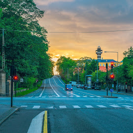 sunset at copenhague by Younes Benaddou - City,  Street & Park  Street Scenes ( #sunset #sun #street #copenhague #sky #city )